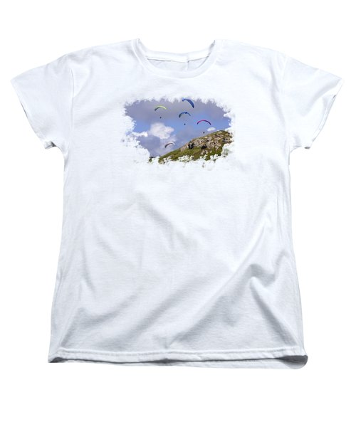 Paragliding Over Sennen Cove On Transparent Background Women's T-Shirt (Standard Cut) by Terri Waters
