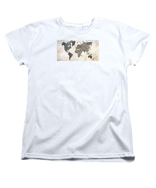Women's T-Shirt (Standard Cut) featuring the digital art Parchment World Map by Douglas Pittman