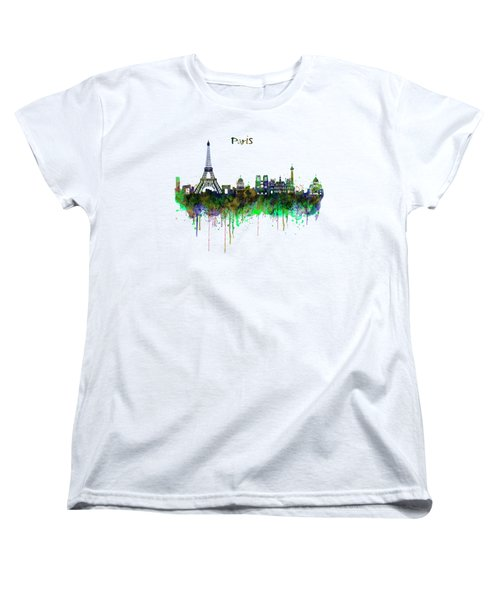 Paris Skyline Watercolor Women's T-Shirt (Standard Cut) by Marian Voicu