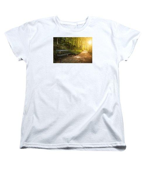 Park Bench In Fall Women's T-Shirt (Standard Cut) by Chevy Fleet