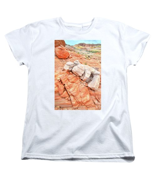 Women's T-Shirt (Standard Cut) featuring the photograph Park Road Sandstone In Valley Of Fire by Ray Mathis