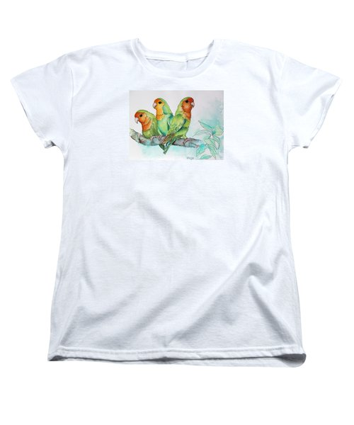 Women's T-Shirt (Standard Cut) featuring the painting Parrots Trio by Inese Poga