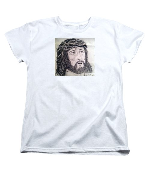 Women's T-Shirt (Standard Cut) featuring the painting Passion Of Christ by Brindha Naveen