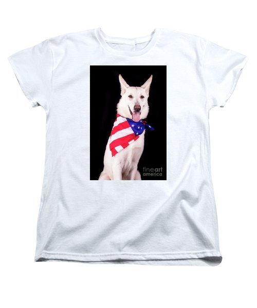 Patriotic Dog Women's T-Shirt (Standard Cut) by Stephanie Hayes