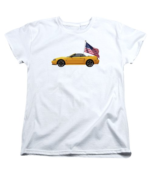 Women's T-Shirt (Standard Cut) featuring the photograph Patriotic Yellow Mustang With Us Flag by Gill Billington