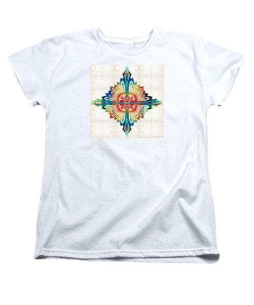 Pattern Art - Color Fusion Design 1 By Sharon Cummings Women's T-Shirt (Standard Cut) by Sharon Cummings