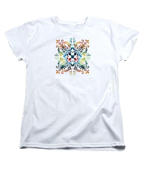 Pattern Art - Color Fusion Design 7 By Sharon Cummings Women's T-Shirt (Standard Cut) by Sharon Cummings