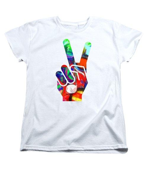 Peace Hippy Paint Hand Sign Women's T-Shirt (Standard Cut) by Edward Fielding