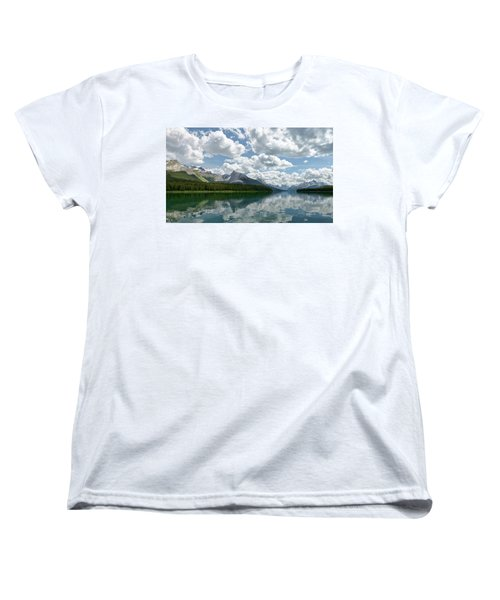 Women's T-Shirt (Standard Cut) featuring the photograph Peaceful Maligne Lake by Sebastien Coursol