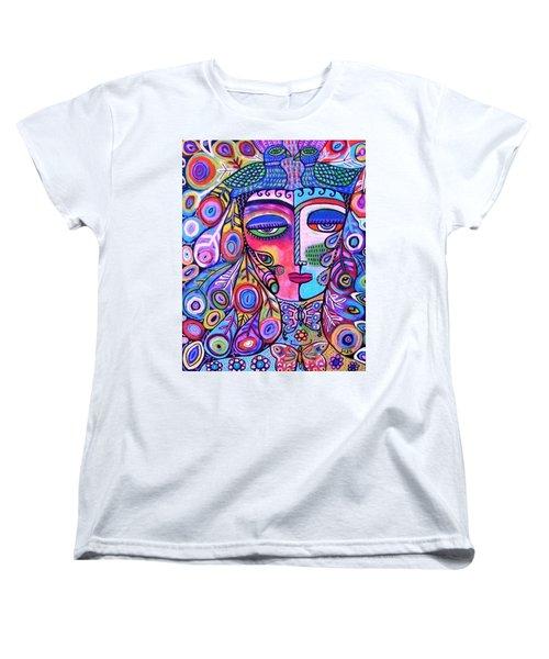 Peacock Pink Butterfly Goddess Women's T-Shirt (Standard Cut) by Sandra Silberzweig