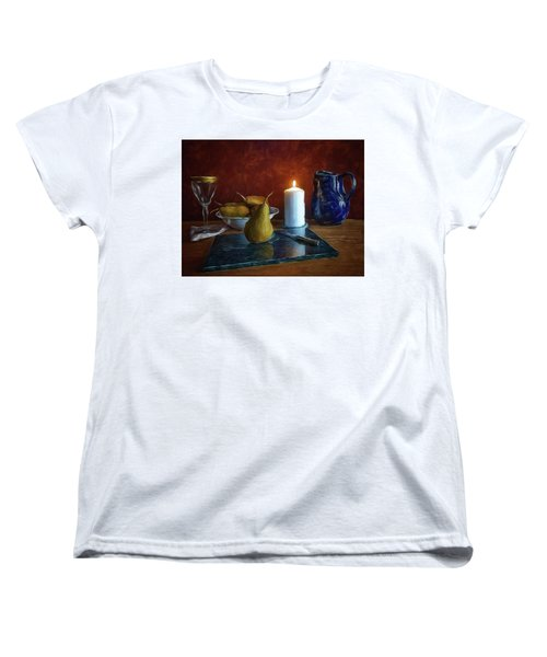 Women's T-Shirt (Standard Cut) featuring the photograph Pears By Candlelight by Mark Fuller