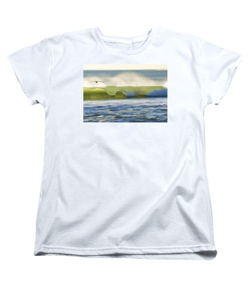 Women's T-Shirt (Standard Cut) featuring the photograph Pelican Flying Over Wind Wave by John A Rodriguez