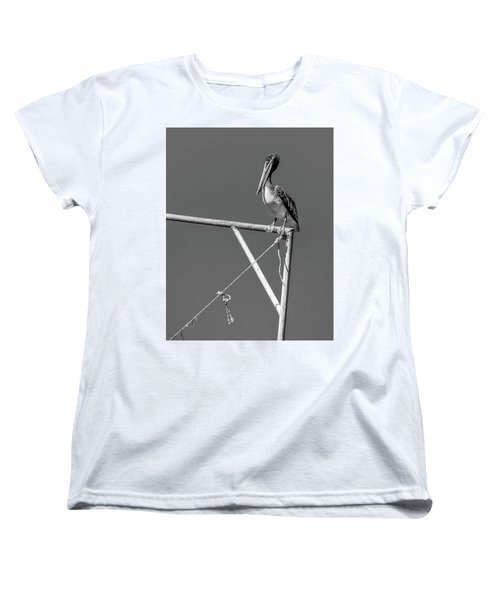 Pelican In Black And White Women's T-Shirt (Standard Cut) by Andy Crawford