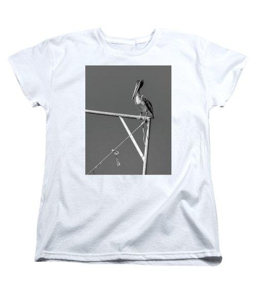 Pelican In Black And White Women's T-Shirt (Standard Cut)