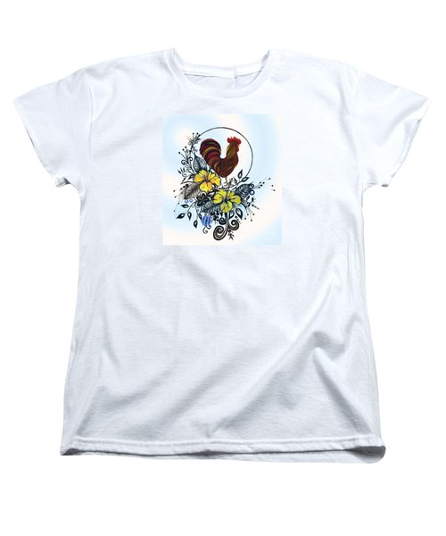 Women's T-Shirt (Standard Cut) featuring the drawing Pen And Ink Drawing Rooster Art Watercolor And Digital Art by Saribelle Rodriguez