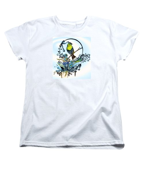 Women's T-Shirt (Standard Cut) featuring the drawing Pen And Ink Art, Colorful Goldfinch, Watercolor And Digital Art, Wall Art, Home Decor Design by Saribelle Rodriguez