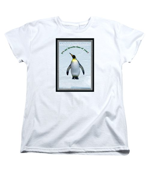 Penguin Christmas Women's T-Shirt (Standard Cut) by Steve Karol