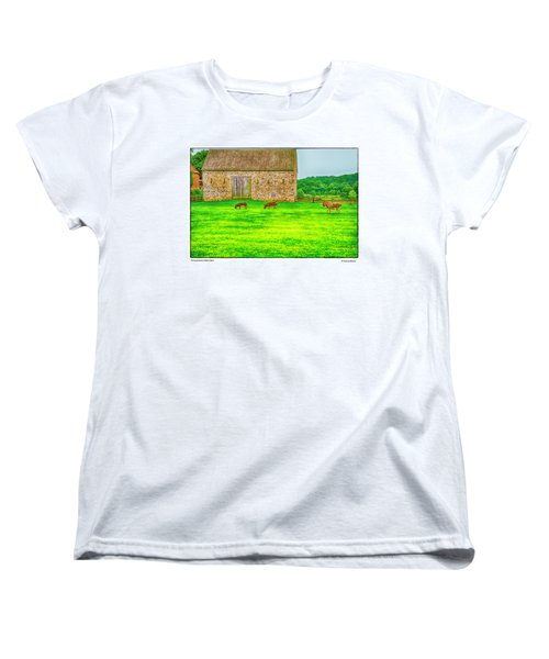 Women's T-Shirt (Standard Cut) featuring the photograph Pennsylvania's Oldest Barn by R Thomas Berner