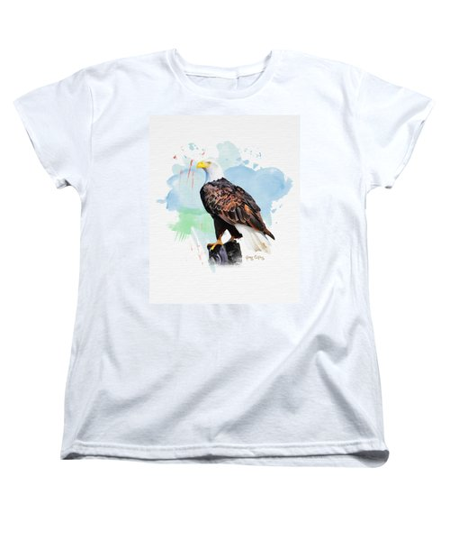 Perched Eagle Women's T-Shirt (Standard Cut) by Greg Collins