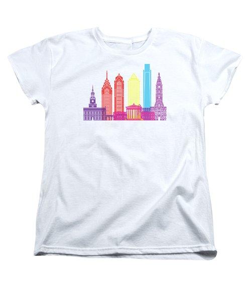 Philadelphia Skyline Pop Women's T-Shirt (Standard Cut) by Pablo Romero