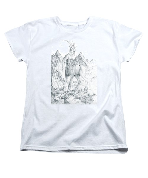 Women's T-Shirt (Standard Cut) featuring the drawing Pholus The Centauras by Curtiss Shaffer