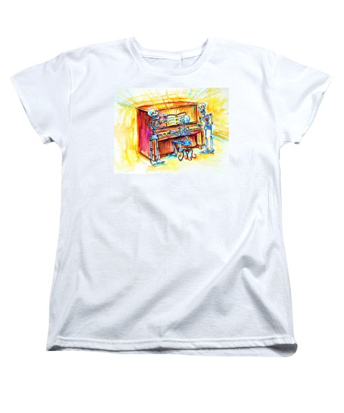 Women's T-Shirt (Standard Cut) featuring the painting Piano Man by Heather Calderon