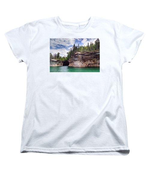 Pictured Rocks Women's T-Shirt (Standard Cut) by Alan Casadei