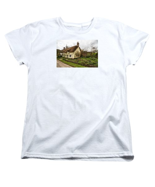 Women's T-Shirt (Standard Cut) featuring the photograph Picturesque Dunster Cottage by Shirley Mitchell