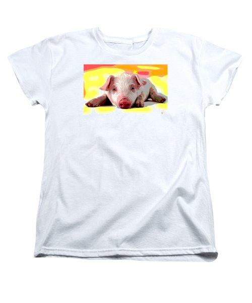 Women's T-Shirt (Standard Cut) featuring the mixed media Pig In A Poke by Charles Shoup