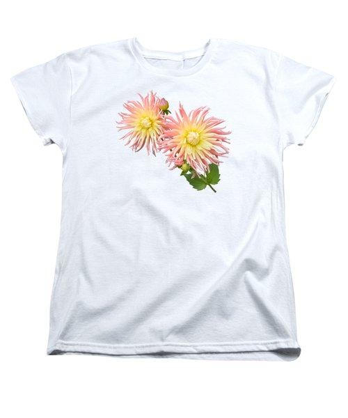 Pink And Cream Cactus Dahlia Women's T-Shirt (Standard Cut) by Jane McIlroy