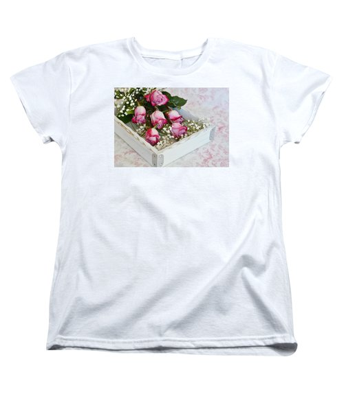 Pink And White Roses In White Box Women's T-Shirt (Standard Cut) by Diane Alexander
