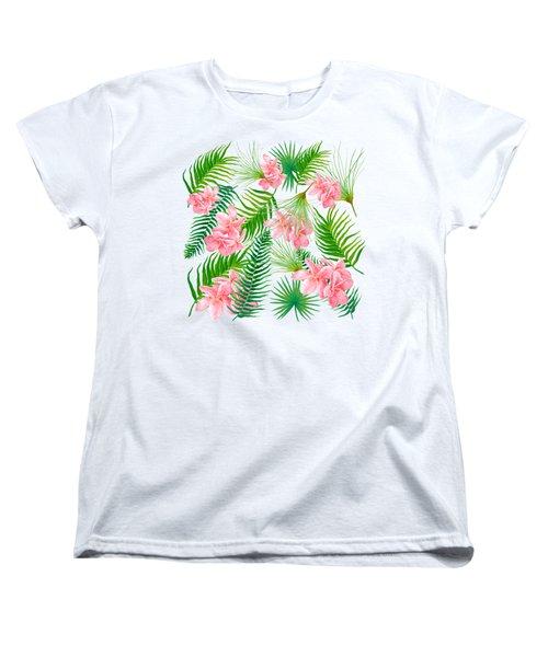 Pink Frangipani And Fern Leaves Women's T-Shirt (Standard Cut) by Jan Matson