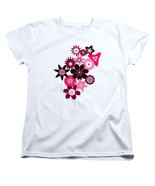 Pink Funky Flowers Women's T-Shirt (Standard Cut) by Methune Hively