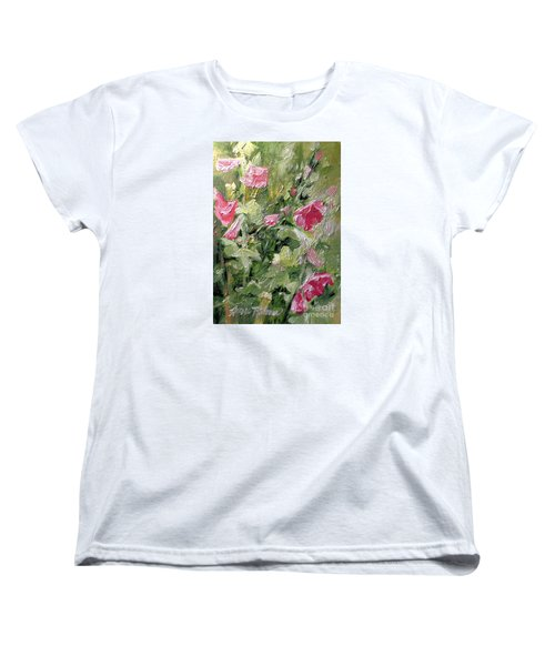 Women's T-Shirt (Standard Cut) featuring the painting Pink Hollyhocks by Laurie Rohner