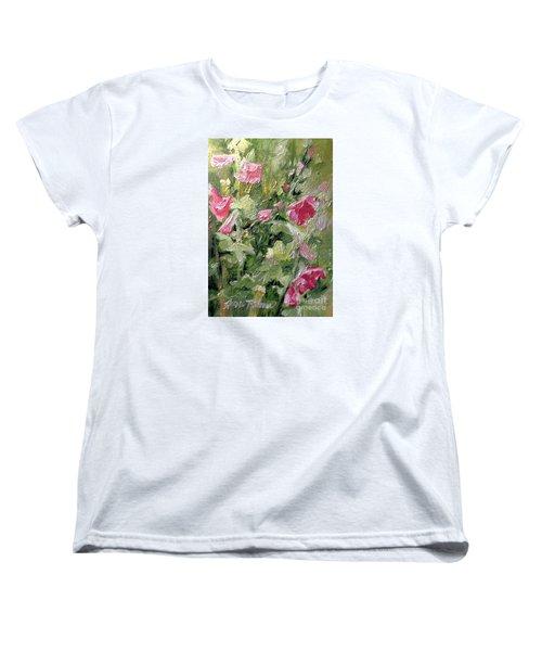 Pink Hollyhocks Women's T-Shirt (Standard Cut)