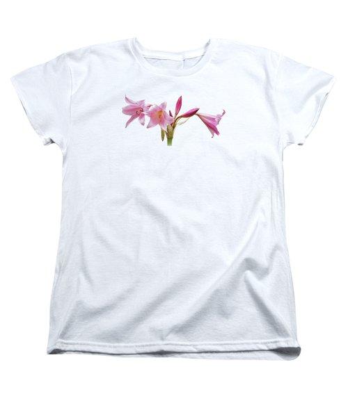 Pink Lilies On Black Women's T-Shirt (Standard Cut) by Gill Billington