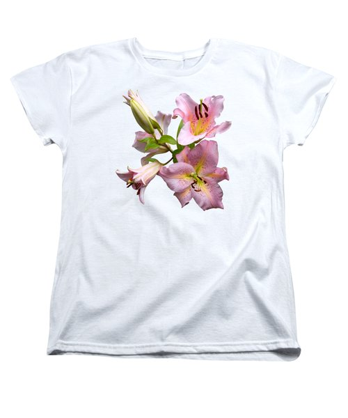 Pink Lilies On Cream Women's T-Shirt (Standard Cut) by Jane McIlroy