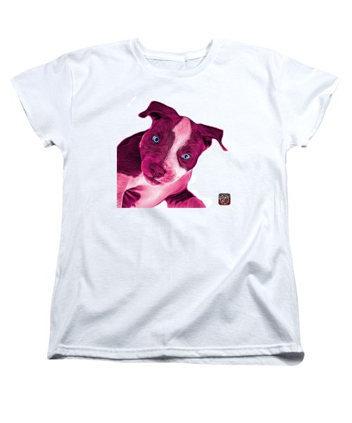 Pink Pitbull Dog Art 7435 - Wb Women's T-Shirt (Standard Cut) by James Ahn