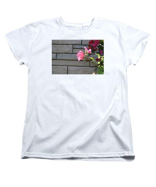 Pink Rose Against Grey Bricks Women's T-Shirt (Standard Cut) by Michele Wilson
