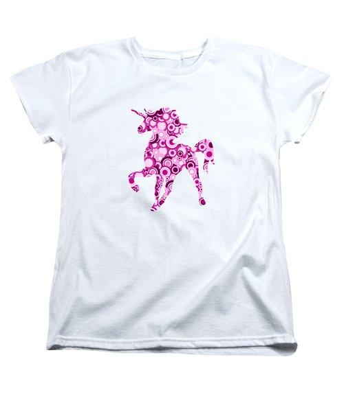 Pink Unicorn - Animal Art Women's T-Shirt (Standard Cut) by Anastasiya Malakhova