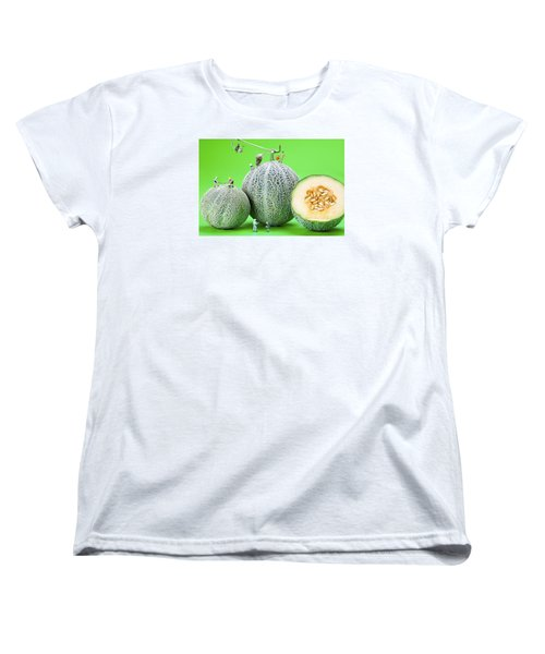 Women's T-Shirt (Standard Cut) featuring the photograph Planting Cantaloupe Melons Little People On Food by Paul Ge