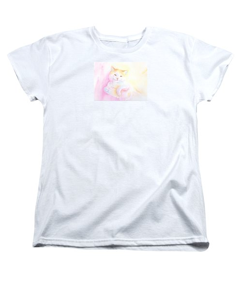 Women's T-Shirt (Standard Cut) featuring the painting Playful Cat I by Elizabeth Lock