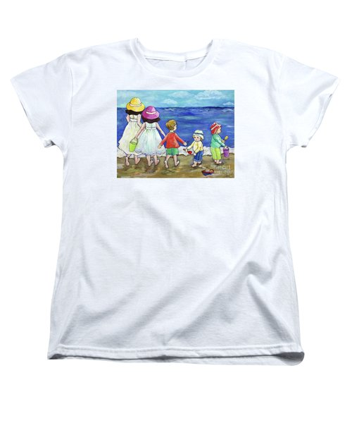 Women's T-Shirt (Standard Cut) featuring the painting Playing At The Seashore by Rosemary Aubut