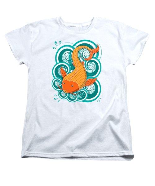 Women's T-Shirt (Standard Cut) featuring the drawing Playing Koi by Shawna Rowe