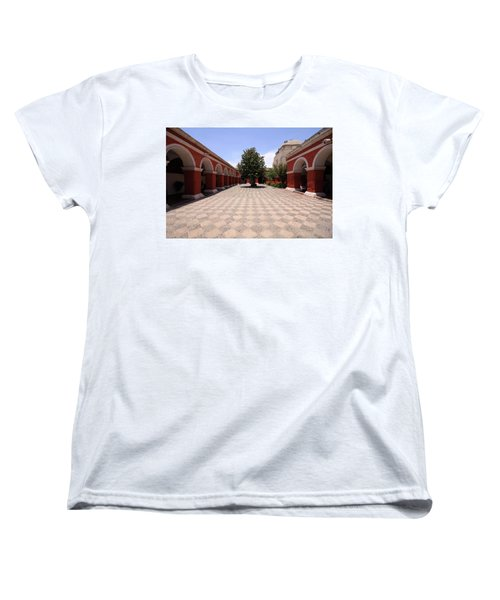 Women's T-Shirt (Standard Cut) featuring the photograph Plaza At Santa Catalina Monastery by Aidan Moran