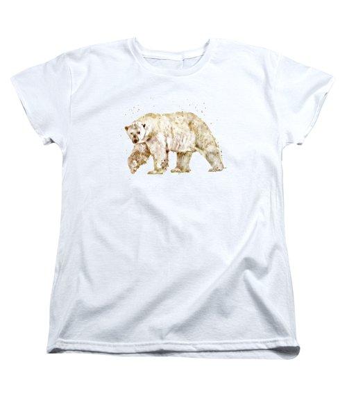 Polar Bear Watercolor Women's T-Shirt (Standard Cut) by Marian Voicu