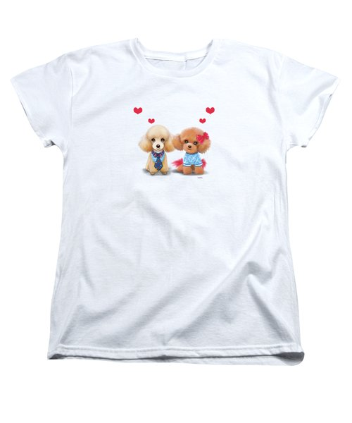 Poodles Are Love Women's T-Shirt (Standard Cut) by Catia Cho