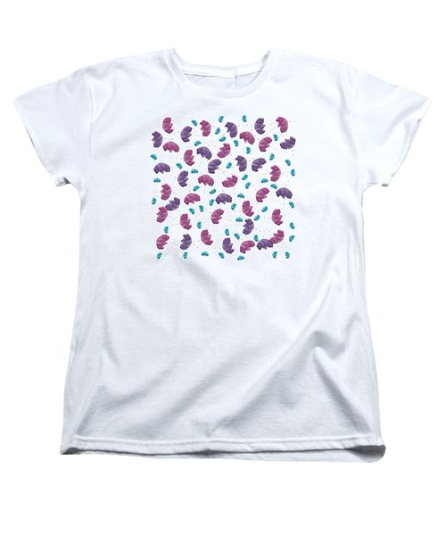 Women's T-Shirt (Standard Cut) featuring the digital art Pop Rock Flowers On White Background by Shelley Neff