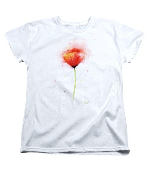 Poppy Watercolor Red Abstract Flower Women's T-Shirt (Standard Cut) by Olga Shvartsur