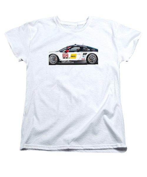 Porsche 911 Gtlm Illustration Women's T-Shirt (Standard Cut) by Alain Jamar